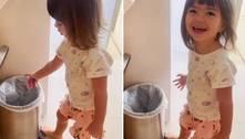 Filha de Sabrina Sato joga chupetas no lixo: 'Não sou mais bebê'