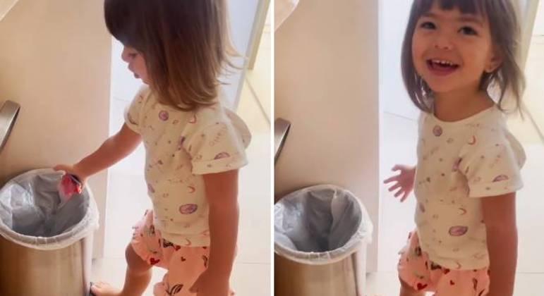 """""""Mamãe, eu vou jogar minhas chupetas no lixo, porque não sou mais bebê, eu sou criança"""""""