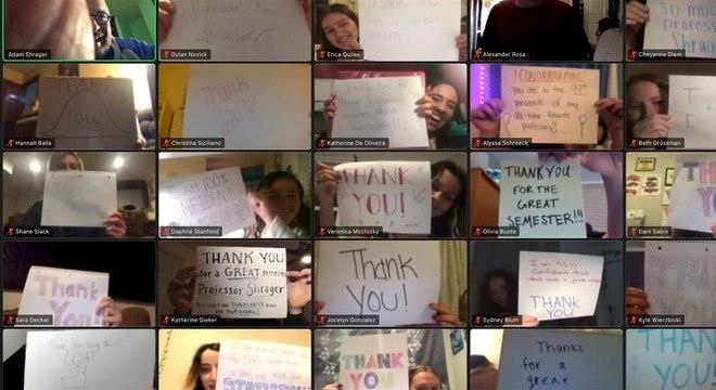 Alunos agradeceram o professor pelo trabalho feito durante as aulas online