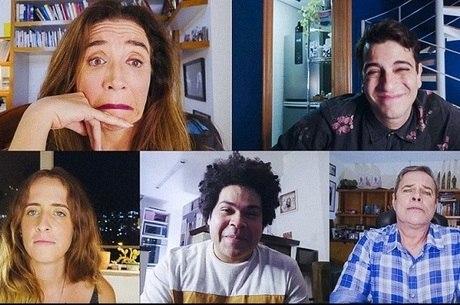 "Marisa Orth, Victor Lamogli, Karina Ramil, Robson Nunes e Diogo Vilela no ""Zorra"" virtual"