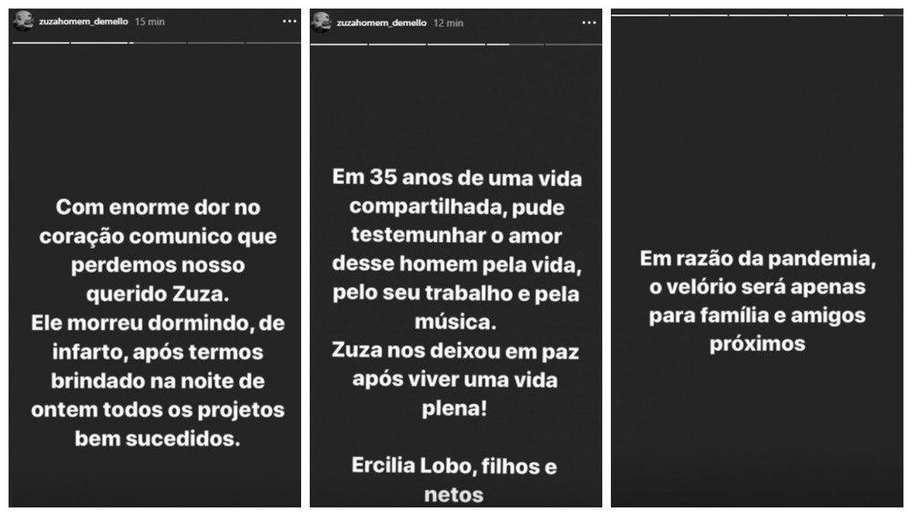 Família comunicou a morte de Zuza no Instagram