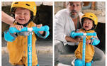 Zyan, filho de Bruno Gagliasso e Giovanna Ewbank, roubou a cena ao aparecer nas redes sociais pronto para dar uma voltinha de patinete